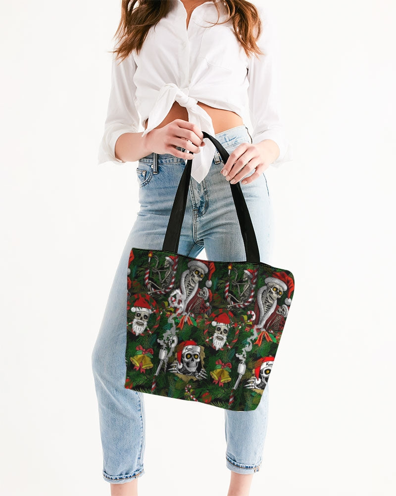 Scary Christmas Canvas Zip Tote
