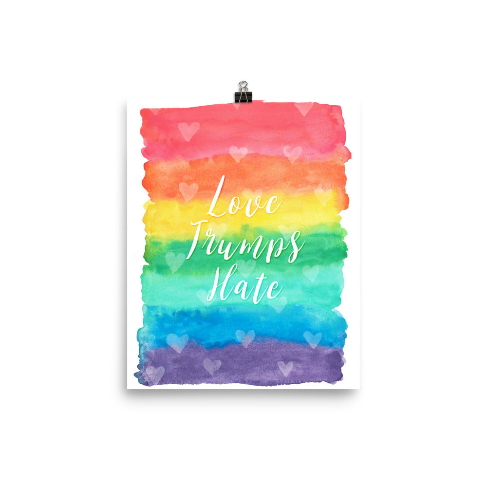 Love Trumps Hate Rainbow Watercolor Poster
