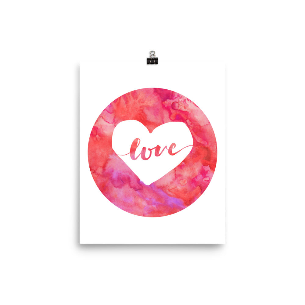 Love Pink Watercolor Heart Poster