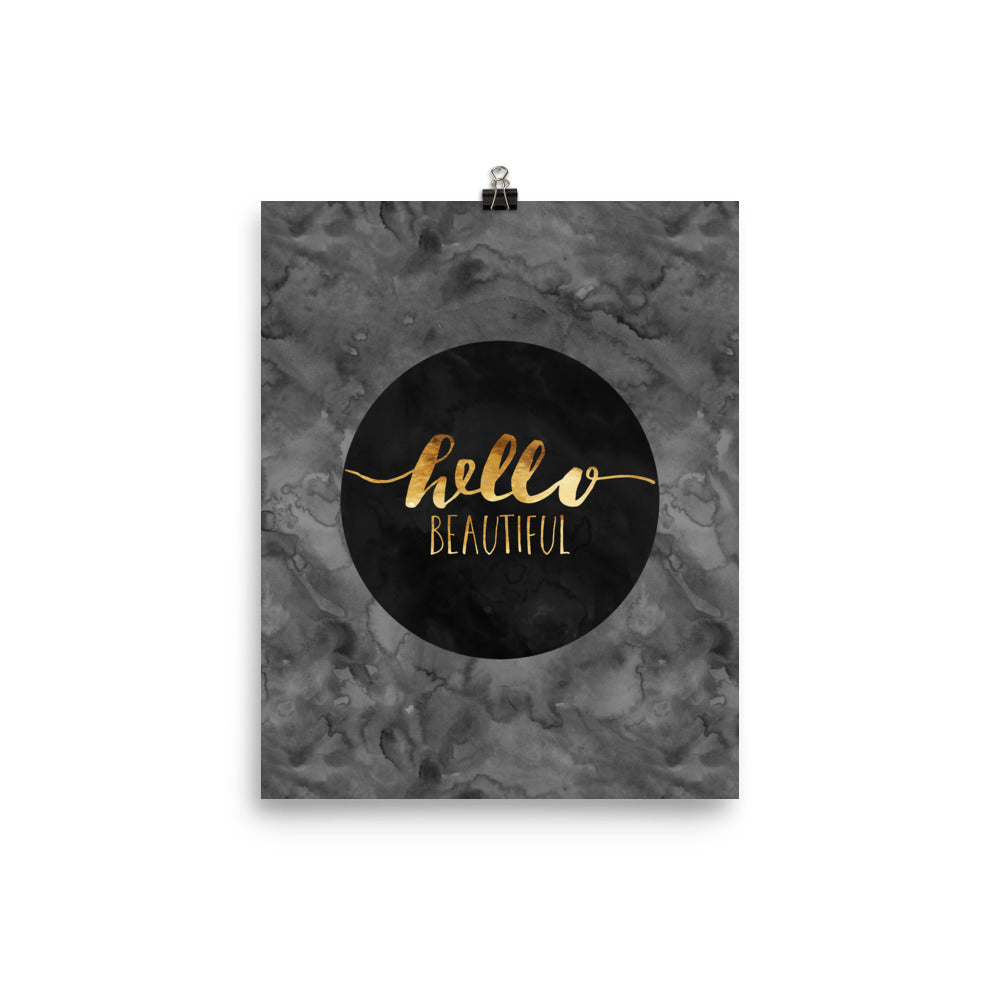 Hello Beautiful Faux Gold Dark Grey Poster