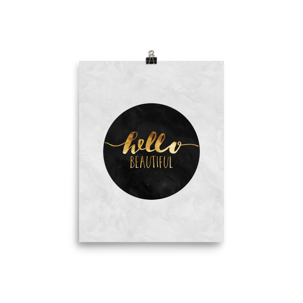 Hello Beautiful Faux Gold Calligraphy Poster