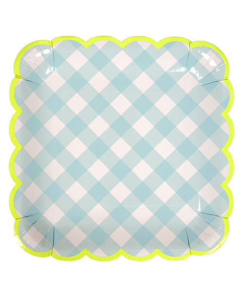 Gingham Plates - Blue
