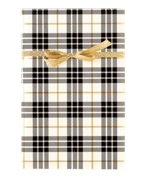 Cream Plaid Gift Wrap
