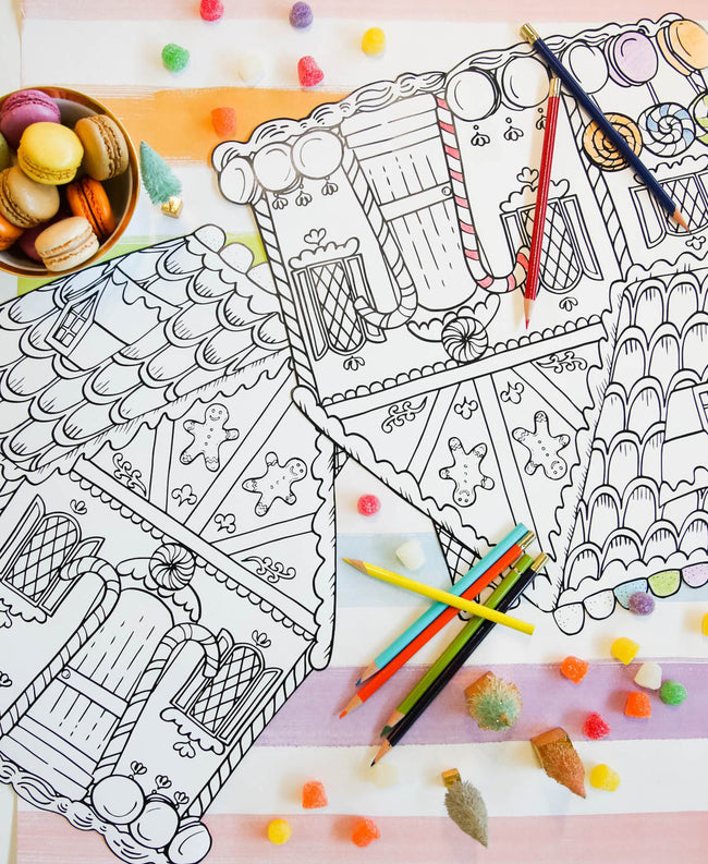 Coloring Gingerbread Die-Cut Placemat