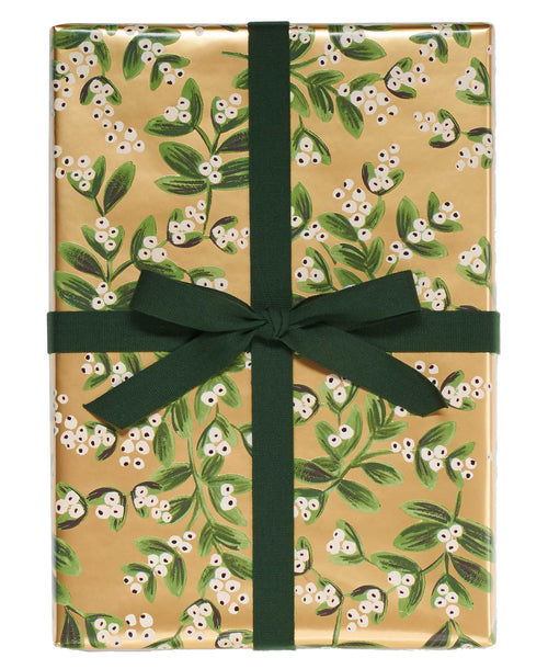 Mistletoe Gold Gift Wrap