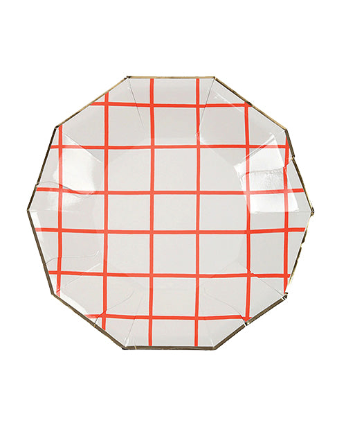 Grid Plates - Neon Coral