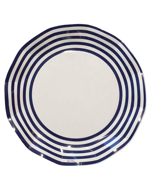 Navy Stripe Plates