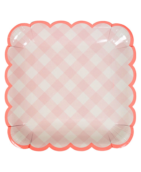Gingham Plates - Pink