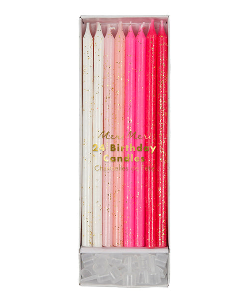 Glitter Candles - Pink