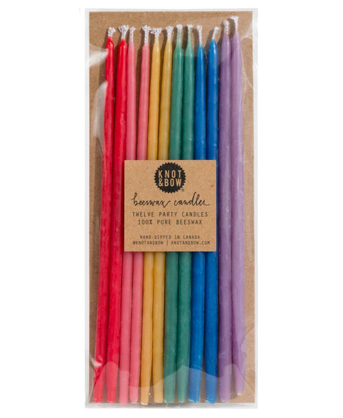 Rainbow Tall Beeswax Party Candles