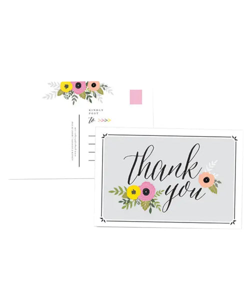 Thank You Floral Postcards