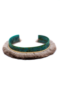 Unique statement bracelet with sea otter fur