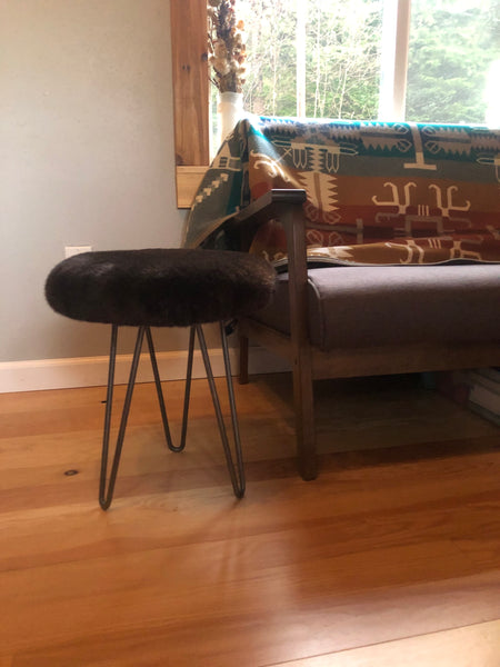 Modern Stool with hairpin legs and sea otter fur
