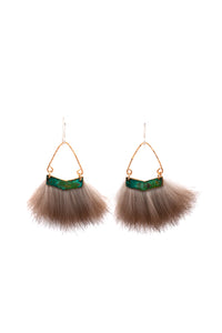 bold real fur earrings with hammered metal