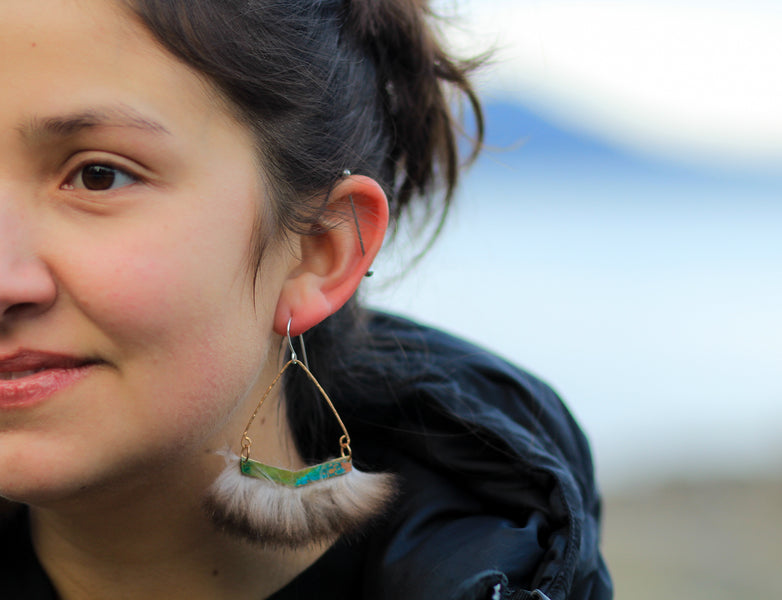 Patina Earrings in the crisp winter Alaskan weather