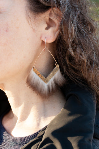 hammered brass earring with sea otter fur