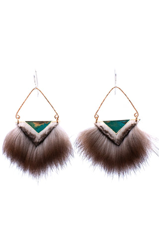 trimmed sea otter fur earrings with blue tones
