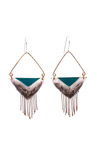 light earrings with hammered bronze dangles and blue tones