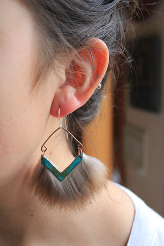 Blue statement earrings. Metal and fur