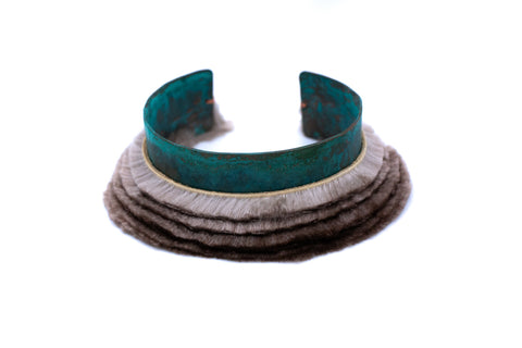 turquoise blue bracelet with ombre fur