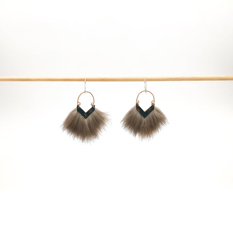 hammered copper earring with sea otter fur