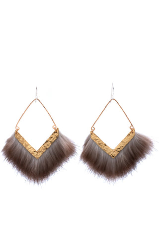 hammered brass earrings with fur
