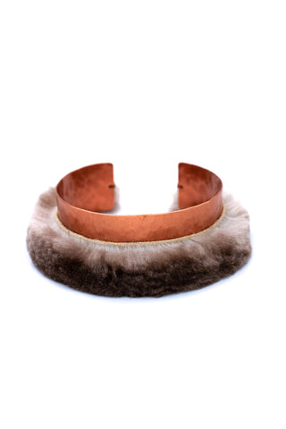 sea otter fur bracelet with hammered copper cuff