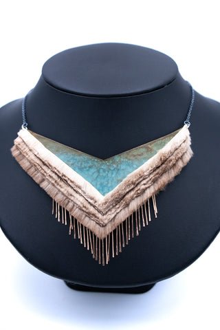 blue layered necklace with dangles