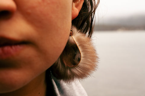 modern earrings with hammered copper and sea otter fur
