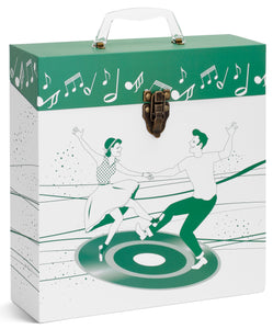 Dancers Green LP Vinyl Record Storage Box And Carrying Case for LPs Albums