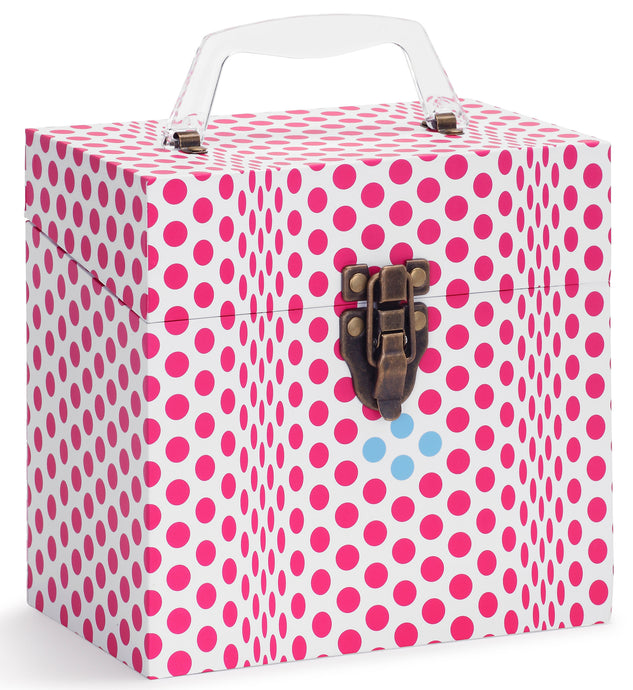 Folding Dots Pink Vinyl Record Storage Box And Carrying Case for 45 RPM Records