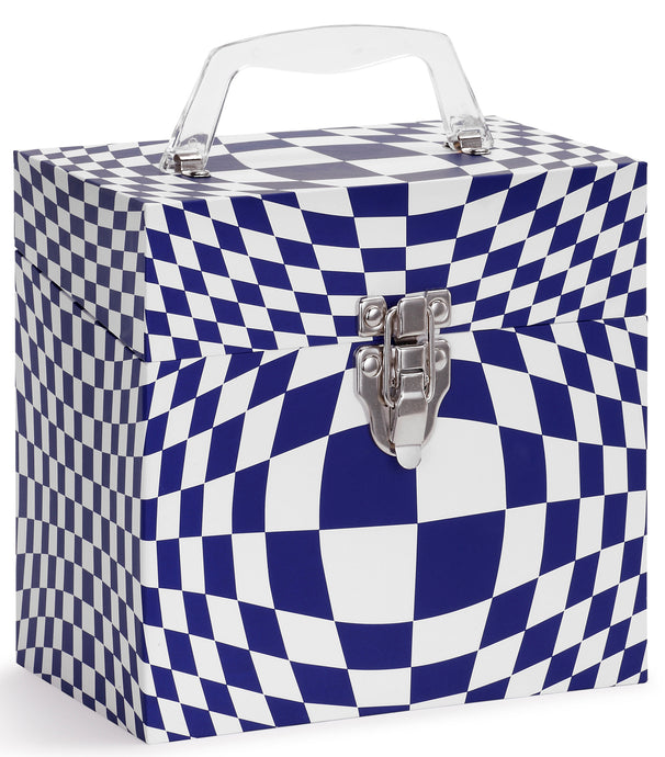 Illusion Blue Vinyl Record Storage Box And Carrying Case for 45 RPM Records