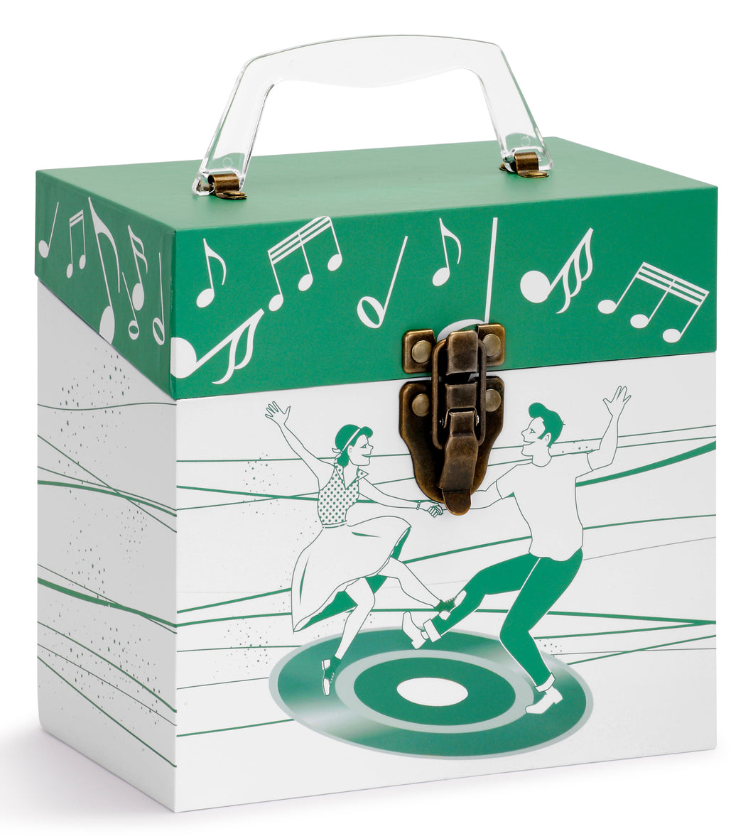 Dancers Green Vinyl Record Storage Box And Carrying Case for 45 RPM Records