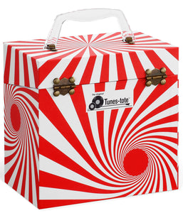 Swirl Red Vinyl Record Storage Box And Carrying Case for 45 RPM Records