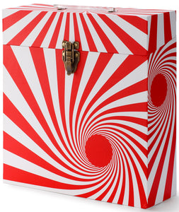 Swirl Red LP Vinyl Record Storage Box And Carrying Case for LPs Albums.