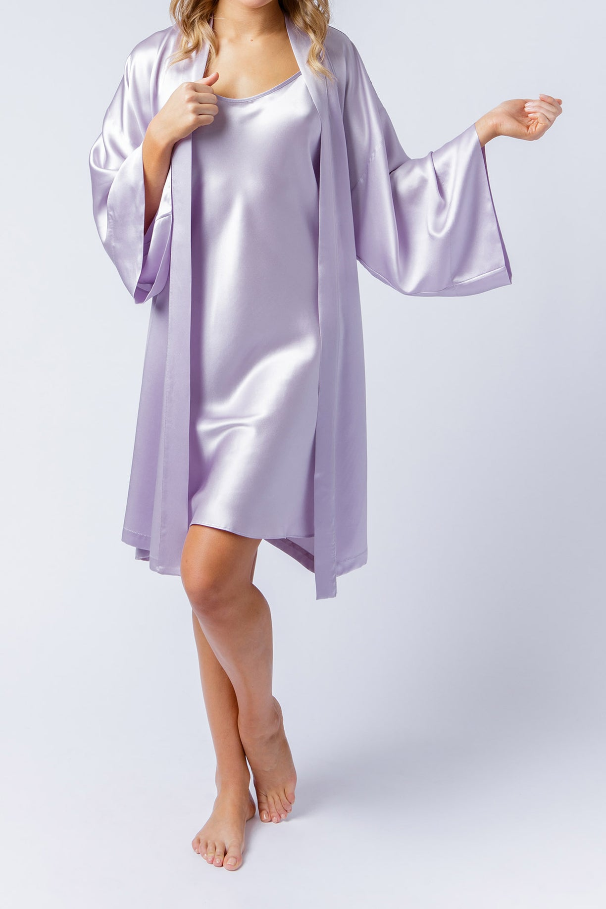 Estelle slip dress, with Serena Kimono, in orchid, front