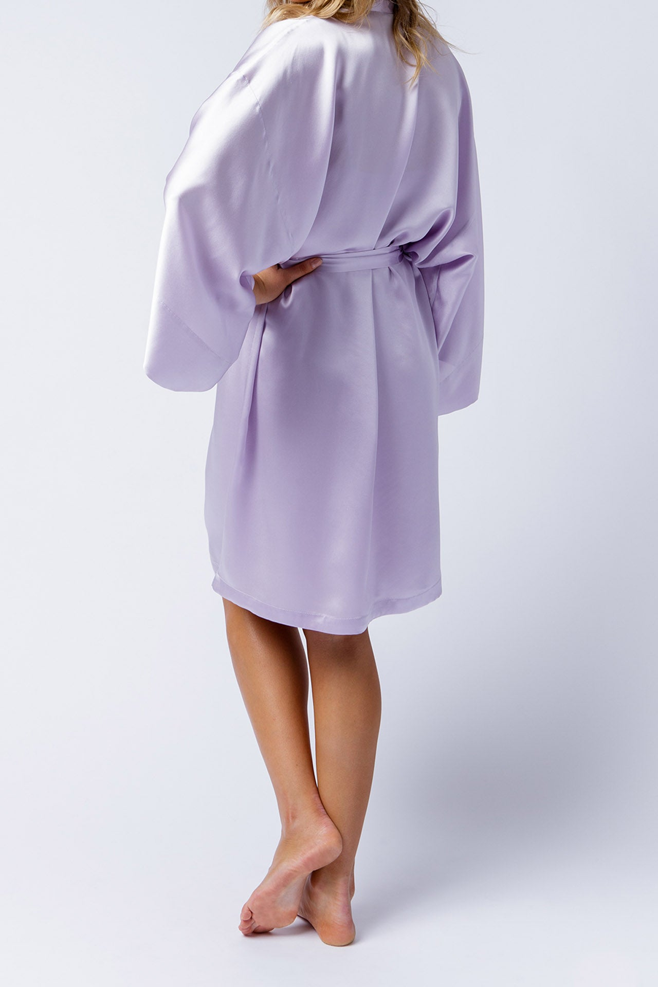 Serena Kimono in orchid, belted back