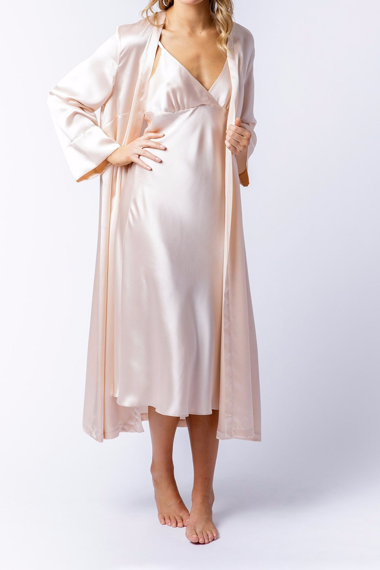 Alice Robe in blush, front