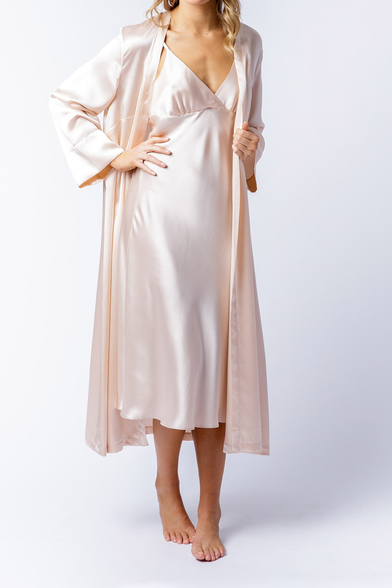 Isabella slip dress in blush with Alice Robe