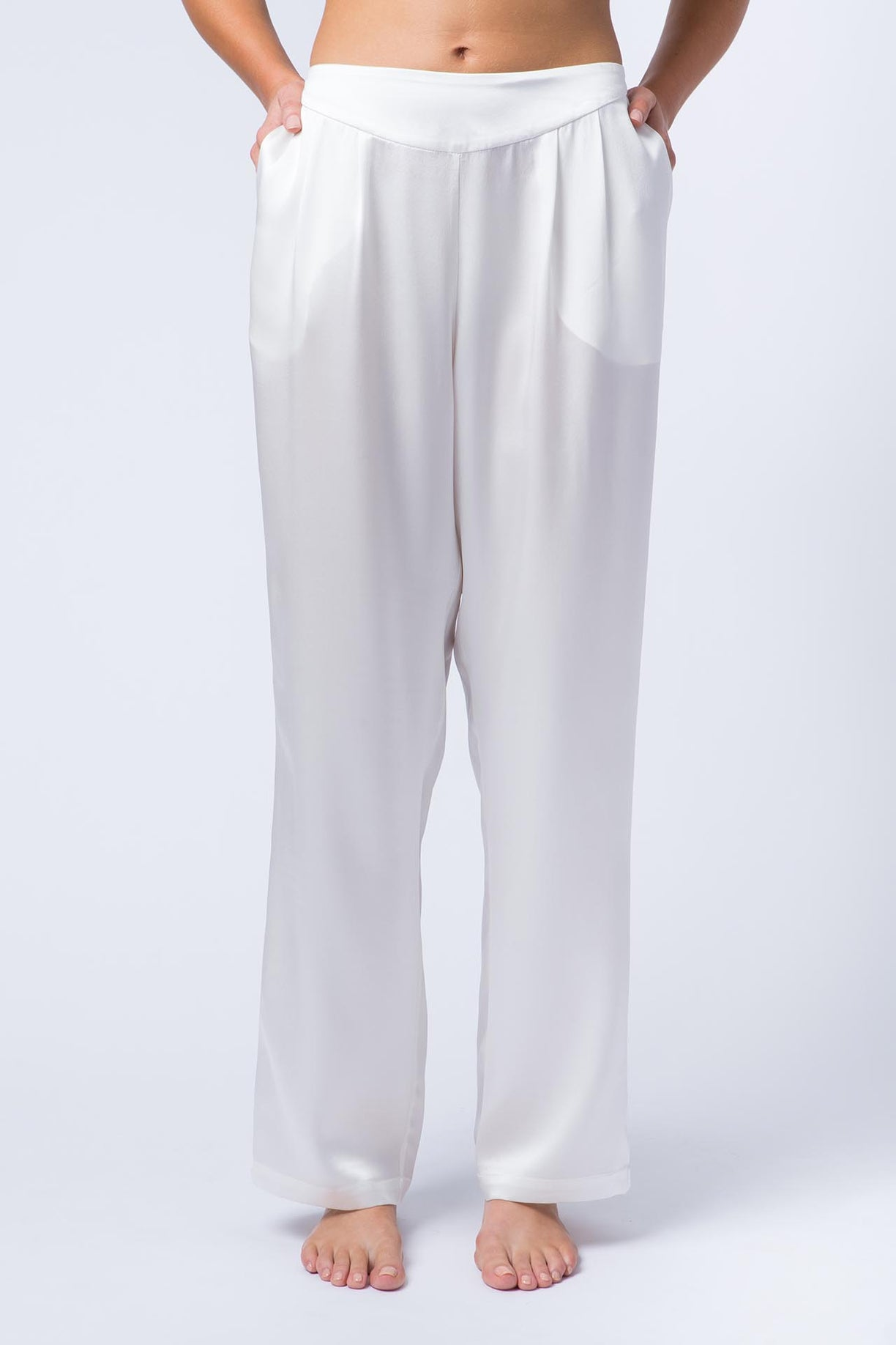 Ann silk satin pants front view