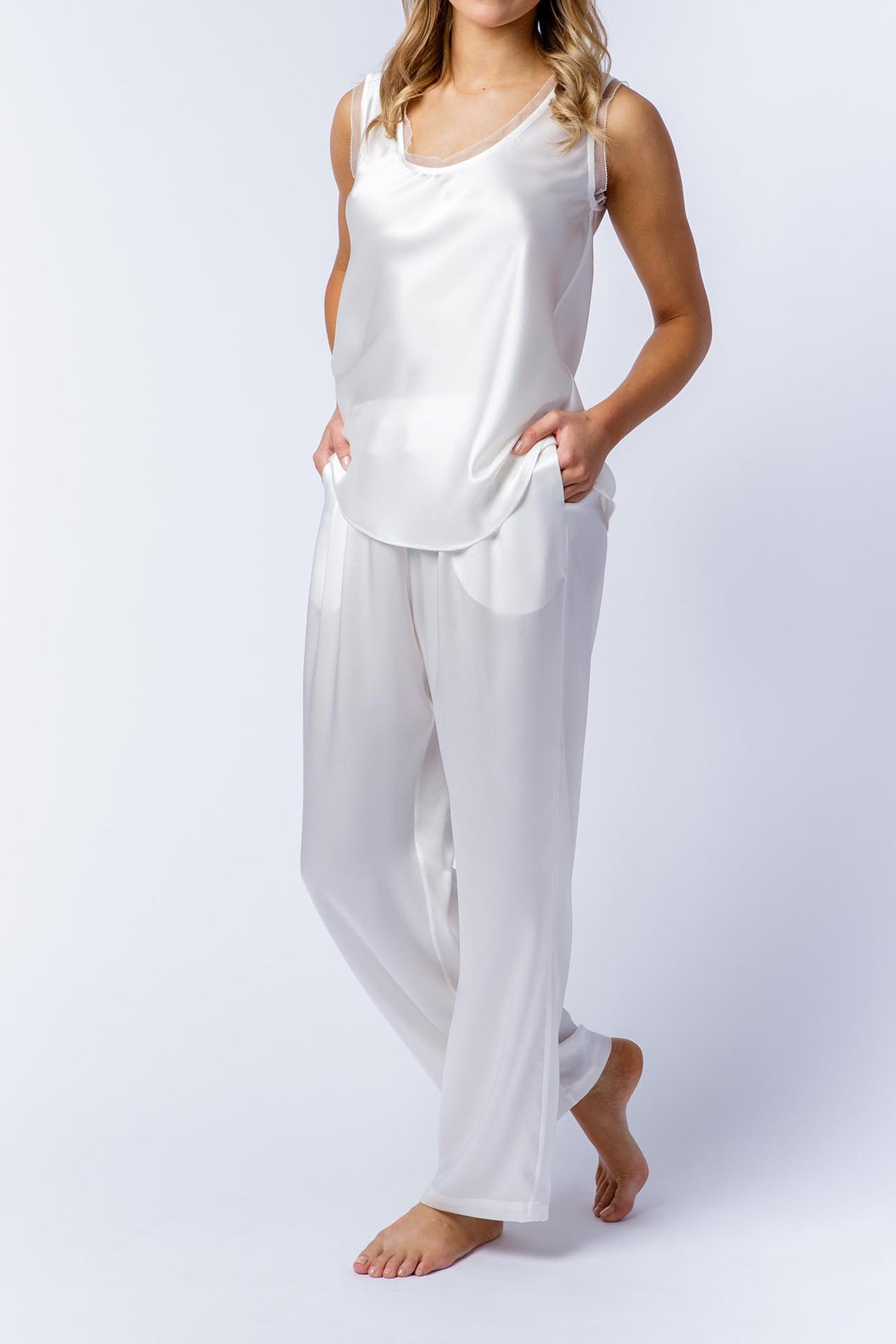 Ann silk pants with Rosie silk singlet