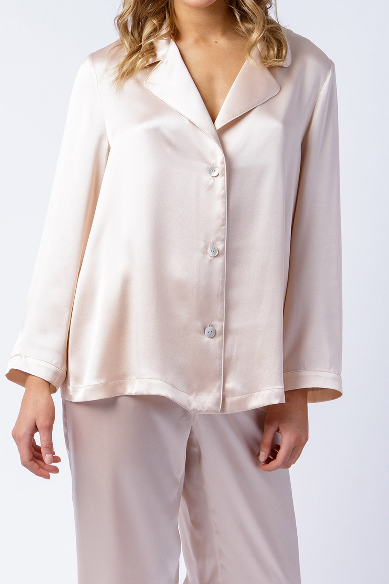Ann shirt in blush, front