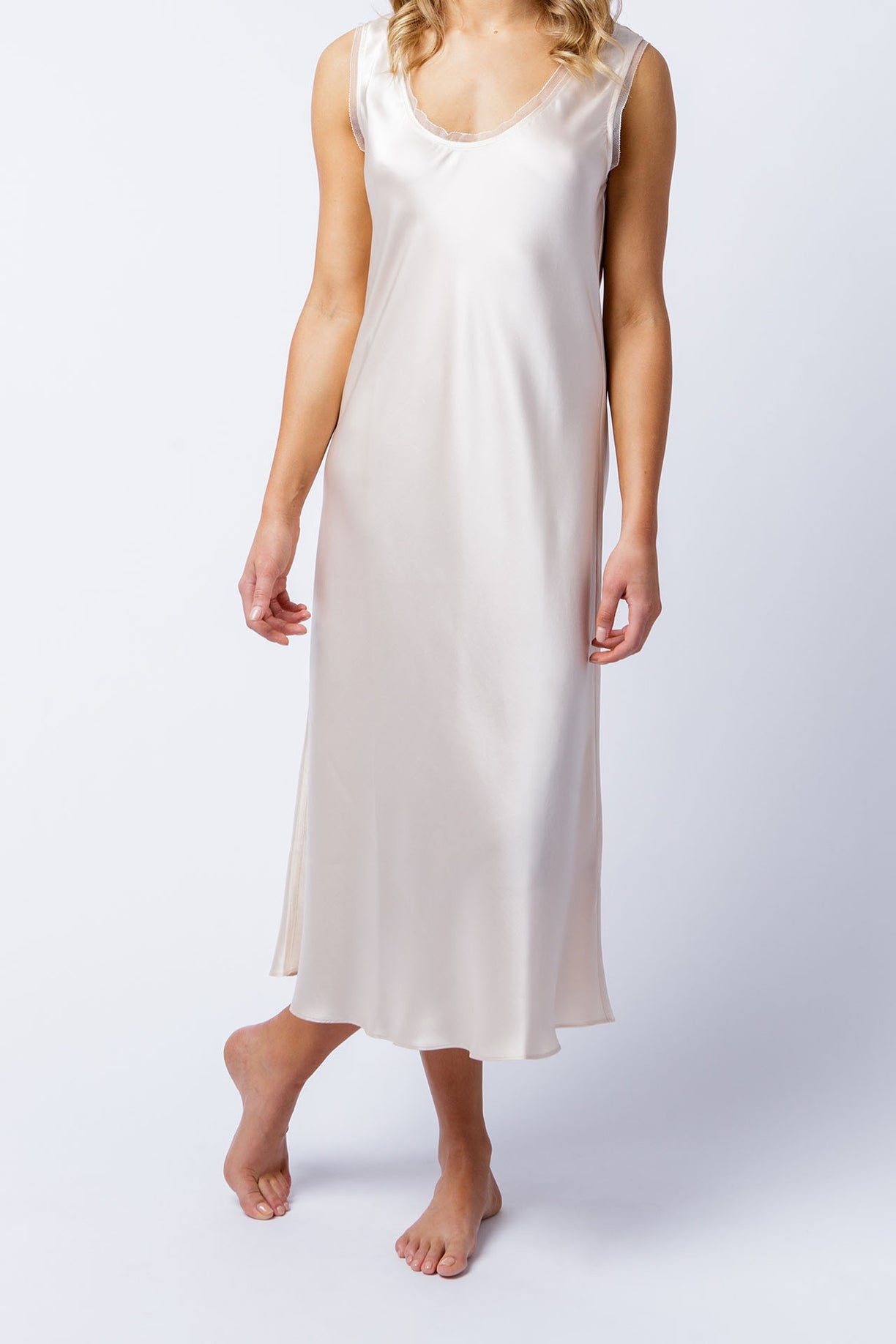Cate dress in alabaster, front