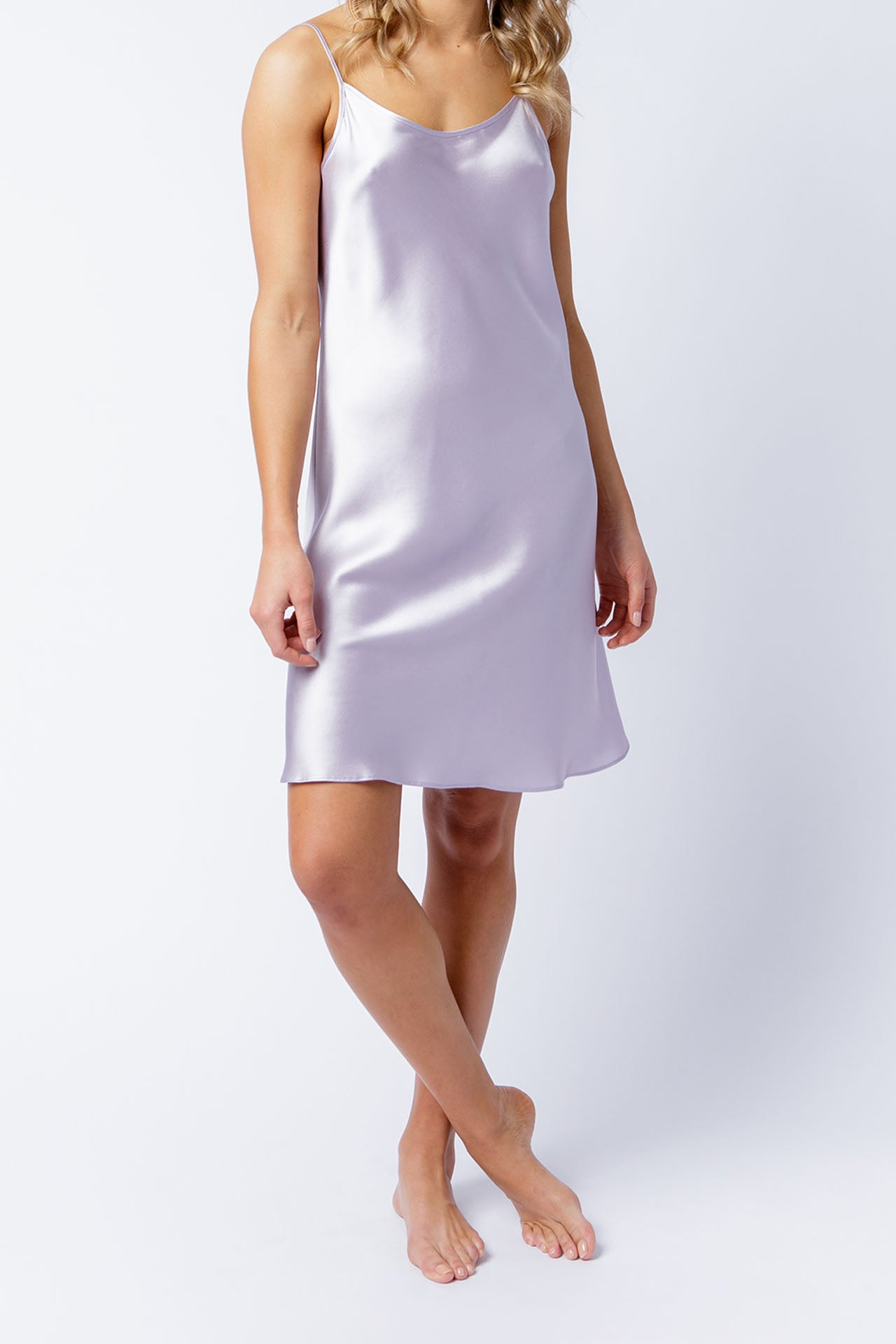 Estella slip dress in orchid, front