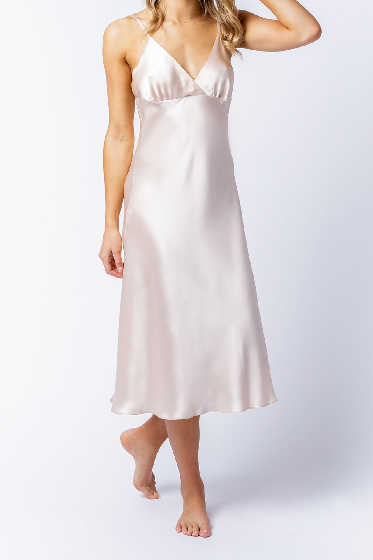 Isabella slip dress in blush, front