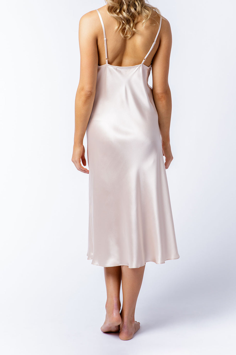 Isabella slip dress in blush, back