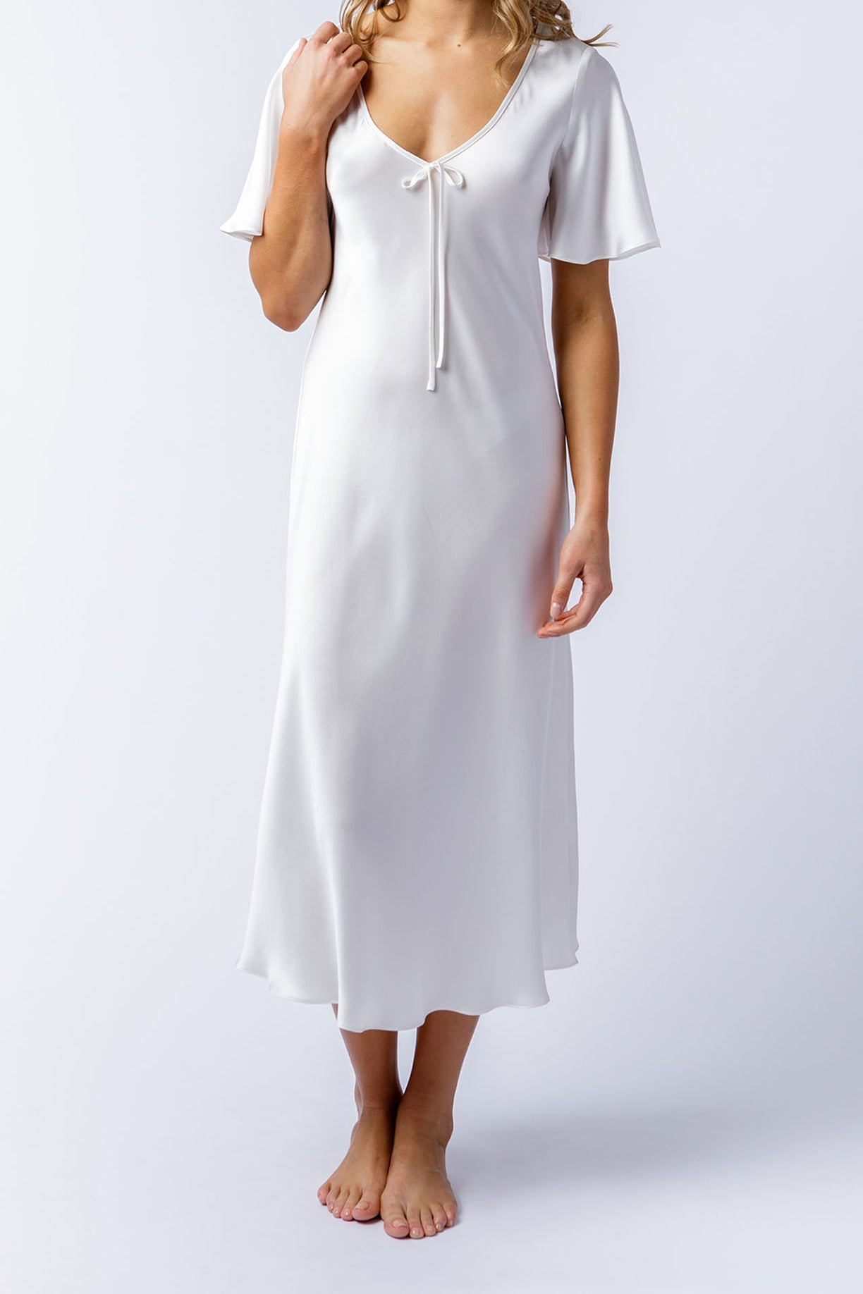 Liz dress in alabaster, front alt