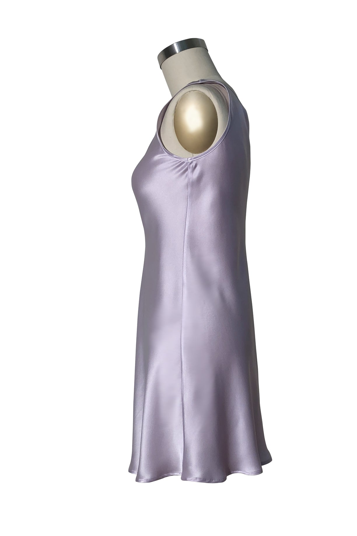 Orchid silk satin Millie side view
