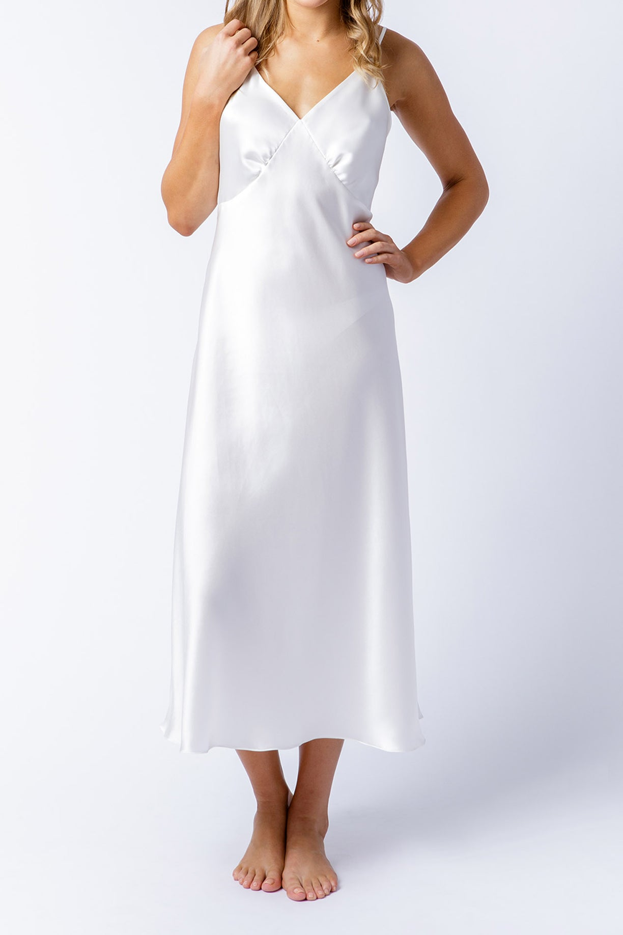 Rosetta slip dress in alabaster, front