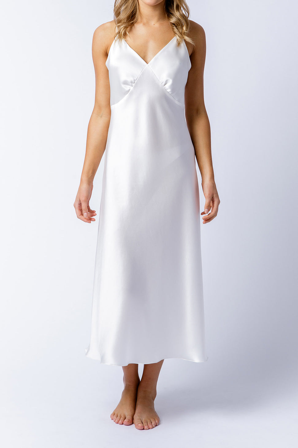 Rosetta slip dress in alabaster, front alt
